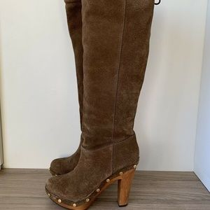 Tory Burch Boots Platform Heel Leather / Suede